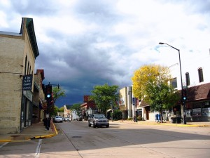 main street in the historic downtown of a small american town